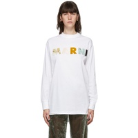 White Patchwork Logo Long Sleeve T-Shirt