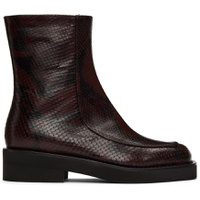 Burgundy Snake Square Toe Ankle Boots