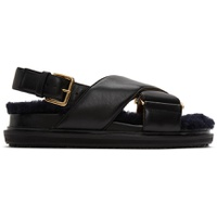 Black Shearling Fussbett Sandals