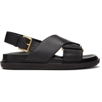 Black Leather Fussbett Sandals