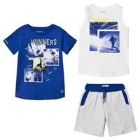 Mayoral Blue Graphic T-Shirt, White Graphic Vest and Grey Shorts Set