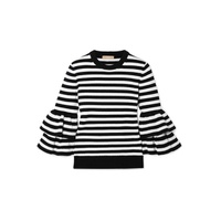 Michael Kors Collection Ruffled striped cashmere-blend sweater