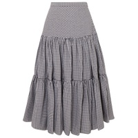 Michael Kors Collection Tiered gingham cotton-poplin maxi skirt