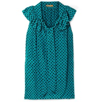 Michael Kors Collection Pussy-bow ruffled polka-dot silk-crepe blouse