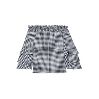 Michael Kors Collection Ruffled off-the-shoulder gingham georgette top