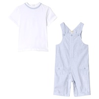 Mintini Baby White and Blue Top and Short Dungarees Set