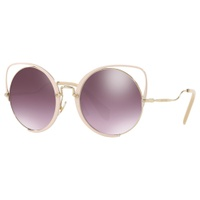 Miu Miu MU 51TS Round Sunglasses, Gold/Mirror Purple