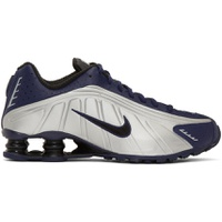 Navy & Silver Shox R4 Sneakers
