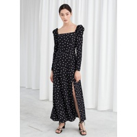 & OTHER STORIES Ruched Polka Dot Maxi Dress