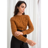 & OTHER STORIES Cropped Cable Knit Sweater