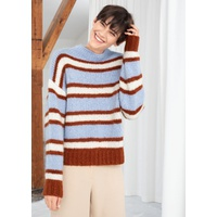 & OTHER STORIES Striped Mock Neck Wool Blend Sweater