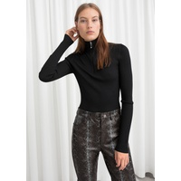 & OTHER STORIES Zippered Rib Knit Turtleneck