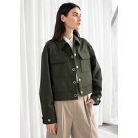 & OTHER STORIES Cropped Wool Blend Workwear Jacket