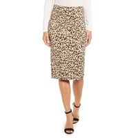 PRESS Animal Print Jacquard Pencil Skirt
