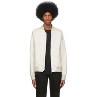 White Leather Raglan Bomber Jacket
