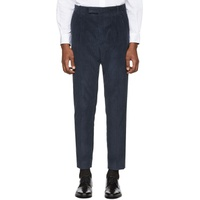 Blue Corduroy Triple Pleat Trousers