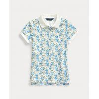 Floral Stretch Mesh Polo Shirt