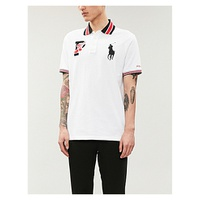 POLO RALPH LAUREN Contrast-trim logo-embroidered cotton-pique polo shirt