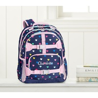 Potterybarn Mackenzie Navy Pink Multicolor Hearts Laptop Backpack