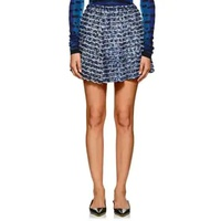Proenza Schouler Fringed & Pleated Abstract-Print Crepe Miniskirt