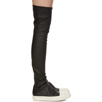 Black & Off-White Stocking Tall Boots