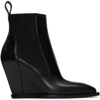 Black Leather Sharp Wedge Boot