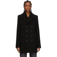 Black Felted Wool Classic Peacoat