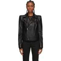 Black Leather Wide Shoulders Motorcycle Jacket