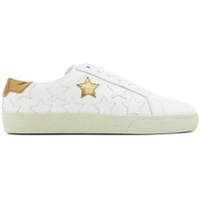 White & Gold Star Court Classic Sneakers