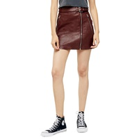 TOPSHOP Hardware Faux Leather Miniskirt