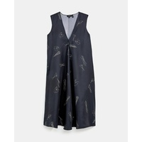 Theory Abstract Twill V-Neck A-Line Dress