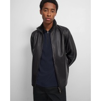 Theory Stand Collar Jacket in Polished Nappa