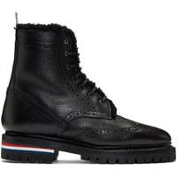 Black Shearling Classic Wingtip Boots
