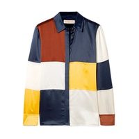 Tory Burch Reese color-block silk-satin shirt