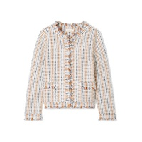 Tory Burch Hollis fringed tweed cardigan