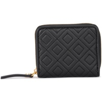 Tory Burch Fleming Medium black quilted leather wallet Black