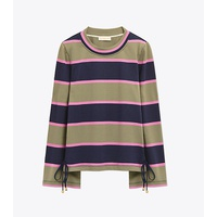 Tory Burch LACE-UP STRIPED TOP