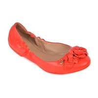 Tory Burch Womens Orange Logo Leather Blossom Ballet Flats