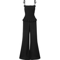Tory Burch Smocked silk crepe de chine jumpsuit