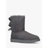 UGG Bailey Bow Sheepskin Short Boots, Grey Suede