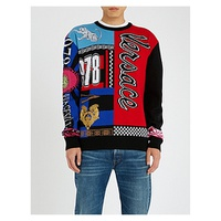 VERSACE Patchwork intarsia-knit wool jumper