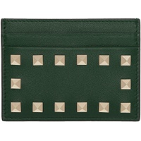 Green Valentino Garavani Rockstud Card Holder
