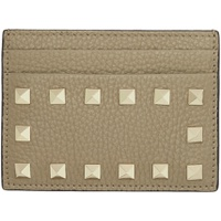 Tan Valentino Garavani Rockstud Card Holder