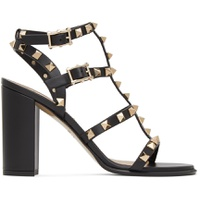 Black Valentino Garavani Rockstud Caged Sandals