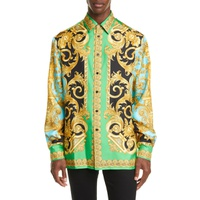 VERSACE Baroque Print Button-Up Silk Shirt