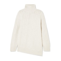 Vince Asymmetric cable-knit wool-blend turtleneck sweater