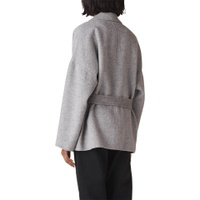Whistles Belted Short Wrap Coat, Grey