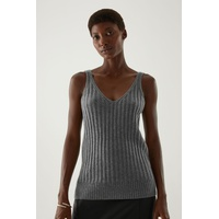 RECYCLED CASHMERE RIBBED V-NECK VEST