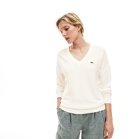 Women's V-Neck Texturized Cotton Sweater