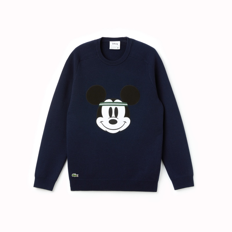 라코스테 Lacoste Mens Crew Neck Disney Mickey Embroidery Interlock Sweater